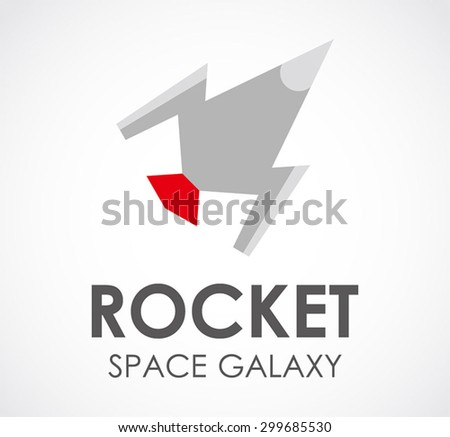 Rocket space booster abstract vector logo design template galaxy business icon flying company symbol concept - stock vector