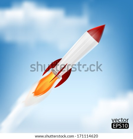 Rocket Space Ship, On Blue Background, Vector Illustration - stock vector