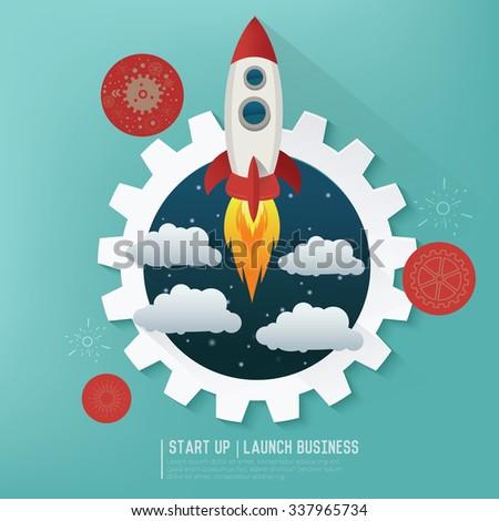 Rocket Start up business design,vector - stock vector