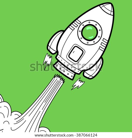 Rocket takes off at the start - illustration as a symbol of innovation, a variety of new projects and success.