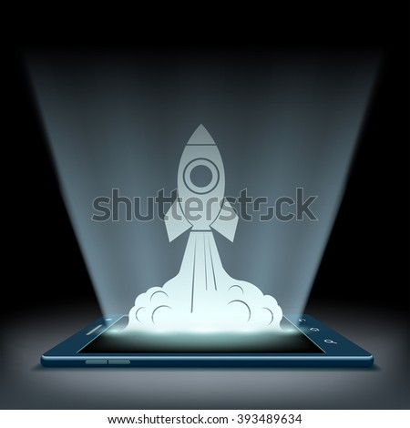 Rocket takes off from the screen of the tablet. Mobile connection. High speed Internet. Stock vector illustration. - stock vector