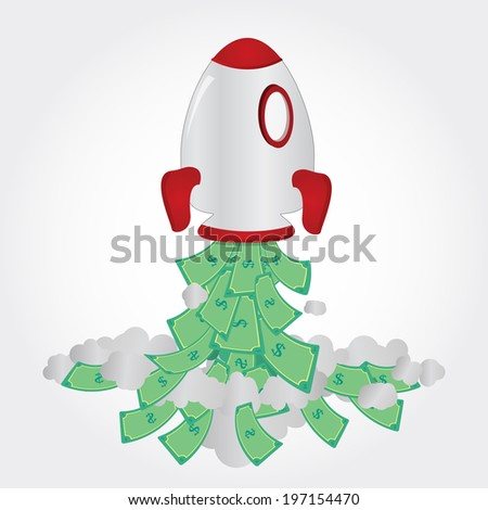 Rocket taking off and freeing up cash. Rocket and paper money - stock vector