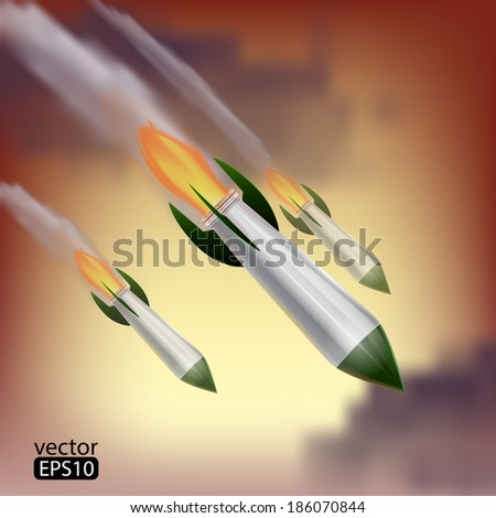 rockets attack - stock vector