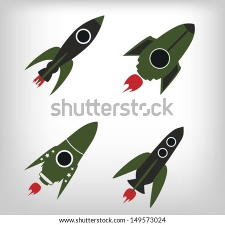 Rockets set - stock vector