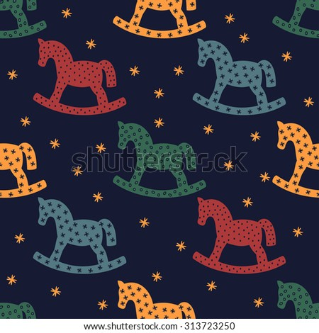 Rocking horse silhouette. Seamless pattern with rocking horses on dark blue background. Cute baby shower background. Colorful child play illustration. Children's games concept. - stock vector