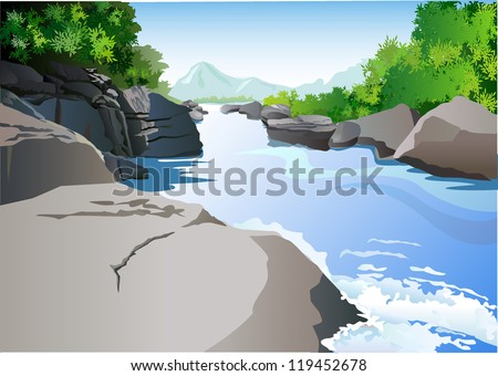 Rocks and water - stock vector