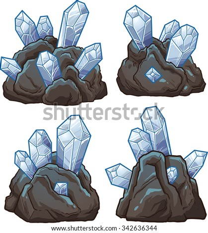 Rocks with crystals. Vector clip art illustration with simple gradients. Each on a separate layer - stock vector