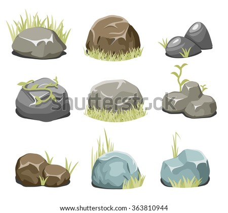 Rocks with grass, stones and green grass. Nature rock, illustration outdoor, environment plant vector. Vector rocks and vector stones - stock vector