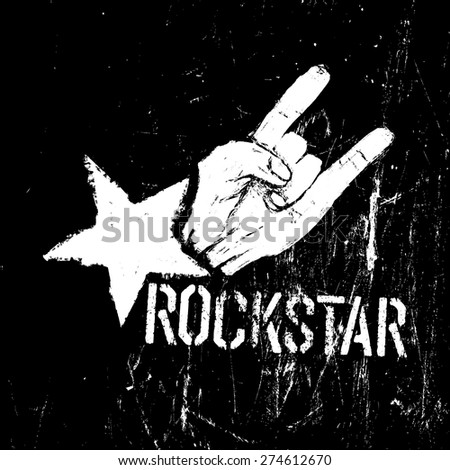 Rockstar symbol, sign of the horns gesture grunge composition on black - stock vector