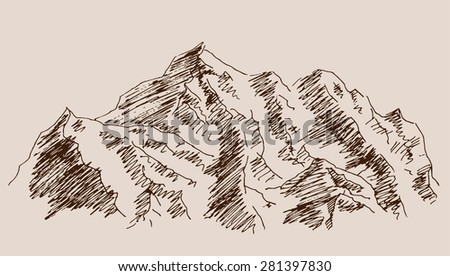 Rocky mountain wild nature scenery, with rocks, in engraving etching hand drawing sketch style, for extreme sport, adventure travel and  tourism design