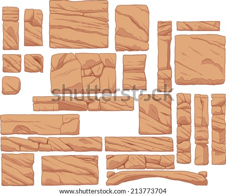 Rocky platforms. Vector clip art illustration with simple gradients. Each in a separate layer. - stock vector