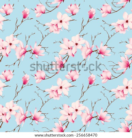 Rococo magnolia flowers mint seamless vector pattern  - stock vector