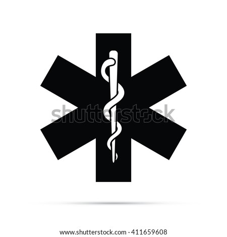 Rod of Asclepius Snake & Staff Medical Symbol Icon - stock vector