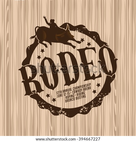Rodeo brand on light wood background. EPS 10 vector.