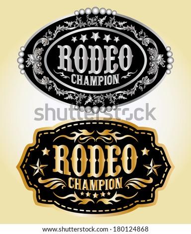 Rodeo Champion - cowboy belt buckle vector design - stock vector