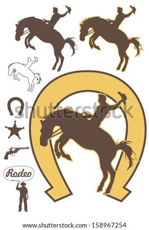 Rodeo cowboy riding A bucking bronco, vector - stock vector