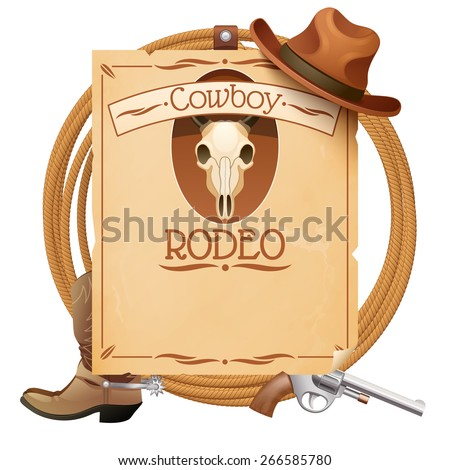 Rodeo retro wild west poster with cowboy hat boots and gun vector illustration - stock vector
