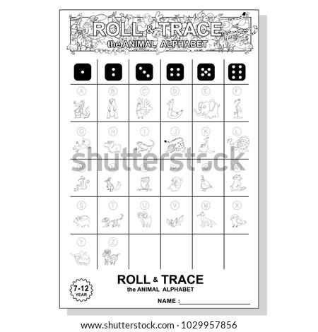 Roll Trace Alphabet Animals Childrens Dice Stock Vector 1029957856 ...