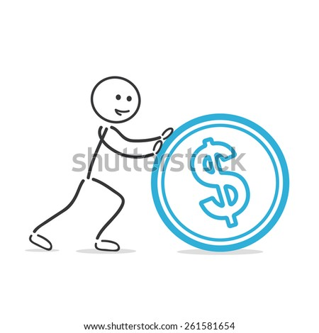 roll dollar coin - stock vector