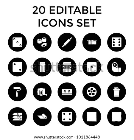 Roll icons. set of 20 editable filled roll icons such as measure tape, dice, carpet, towels, paper towel, blinds, paint roller. best quality roll elements in trendy style.