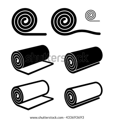 carpet roll vector. roll of anything black symbol vector carpet e