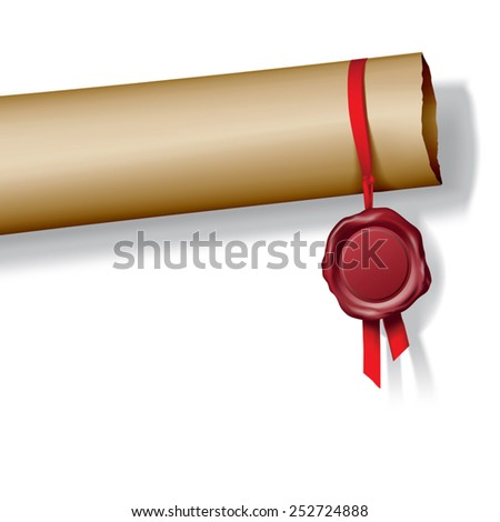 Roll of paper with red wax seal. Vector illustration - stock vector