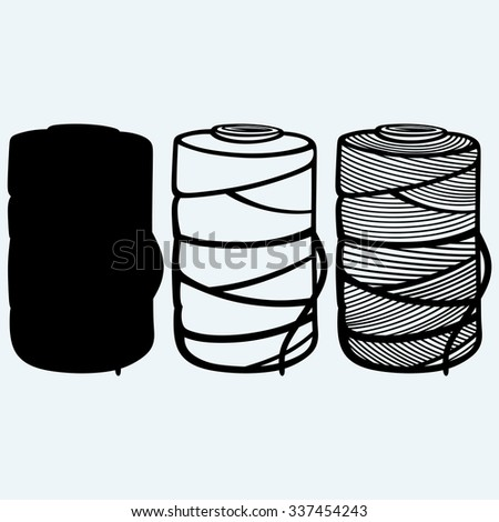 Roll of twine cord. Isolated on blue background. Vector silhouettes