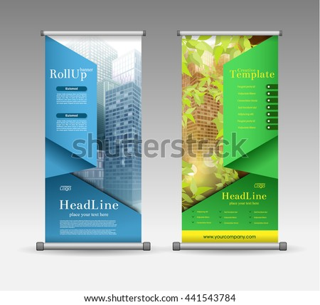 Roll Up Banner Abstract Geometric Colourful Design, Advertising Vector Background - stock vector