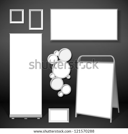 Roll up banner and stand illustration - stock vector