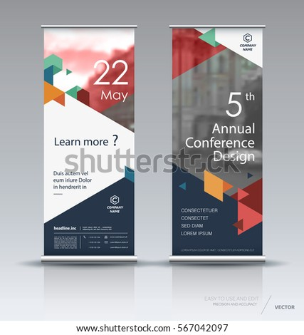 Roll up banner design brochure flyer vertical template, vector x-banner and street business flag-banner, layout. Dark blue, red, orange and green polygons on a white background