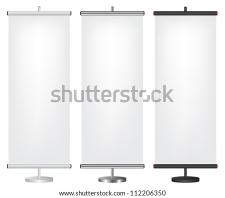 Roll up banner different color illustration - stock vector