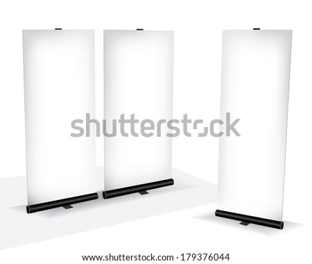 Roll up banner different dimension - stock vector