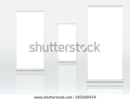 Roll up banner display, free copy space, vector eps 10 - stock vector