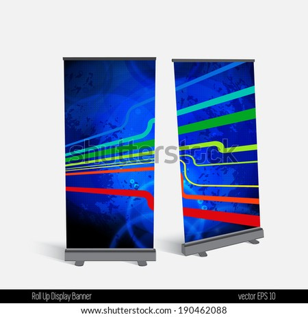 Roll up banner display template for designers, vector - stock vector