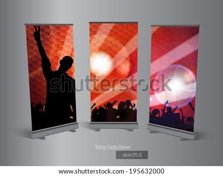 Roll up banner display, vector  - stock vector