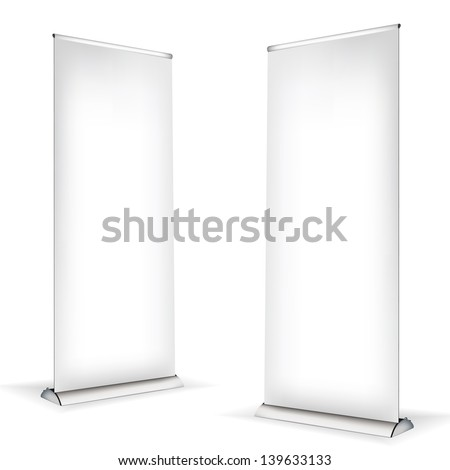 Roll up banner on white background