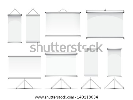 roll up banner set - stock vector