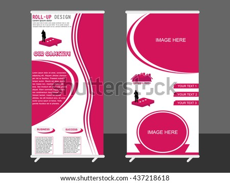 Roll Up Banner Stand Design - stock vector