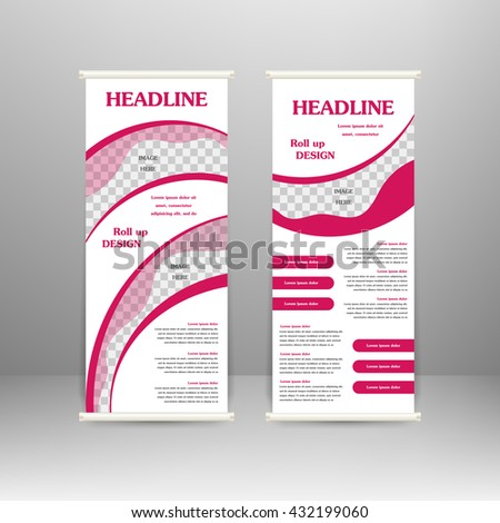 Roll Banner Stand Design Advertisement Poster Stock Vector