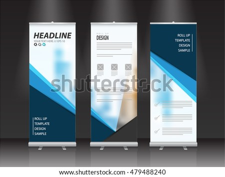 roll up banner stand design vector