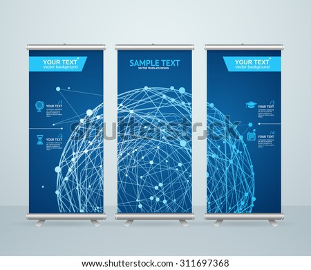 Roll Up Banner Stand Design with Abstract Glowing Sphere. Scientific Concept. Vector illustration - stock vector
