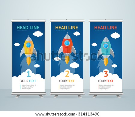 Roll Up Banner Stand Design with Flying Rocket in the Sky. Vector illustration - stock vector