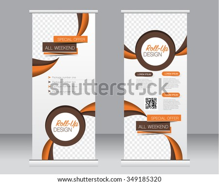 Roll up banner stand template. Abstract background for design,  business, education, advertisement.  Brown and orange color. Vector  illustration. - stock vector