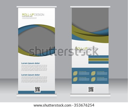 Roll up banner stand template. Abstract background for design,  business, education, advertisement.  Blue and green color. Vector  illustration - stock vector