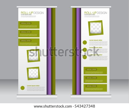Roll up banner stand template. Abstract background for design,  business, education, advertisement.  Purple and green color.