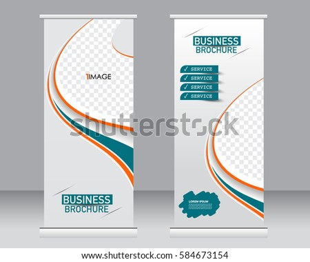 Roll up banner stand template. Abstract background for design,  business, education, advertisement.  Vector  illustration. Orange and green color
