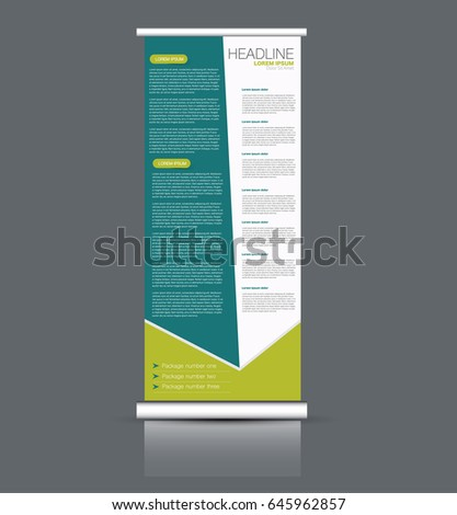 Roll up banner stand template. Abstract banner background for design,  business, education, advertisement. Green color. Vector  illustration