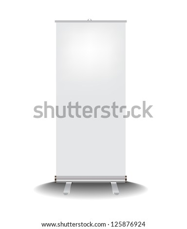 Roll up banner stand, Vector - stock vector