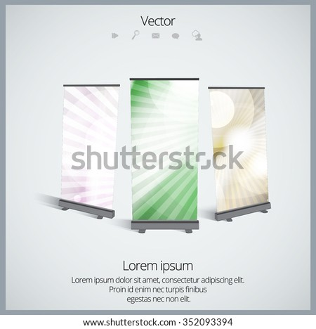 Roll up display banner, vector  - stock vector