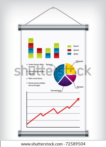Roll up display design with financial elements - stock vector